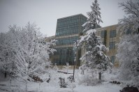 Snow covered Regents Hall of Natural Sciences