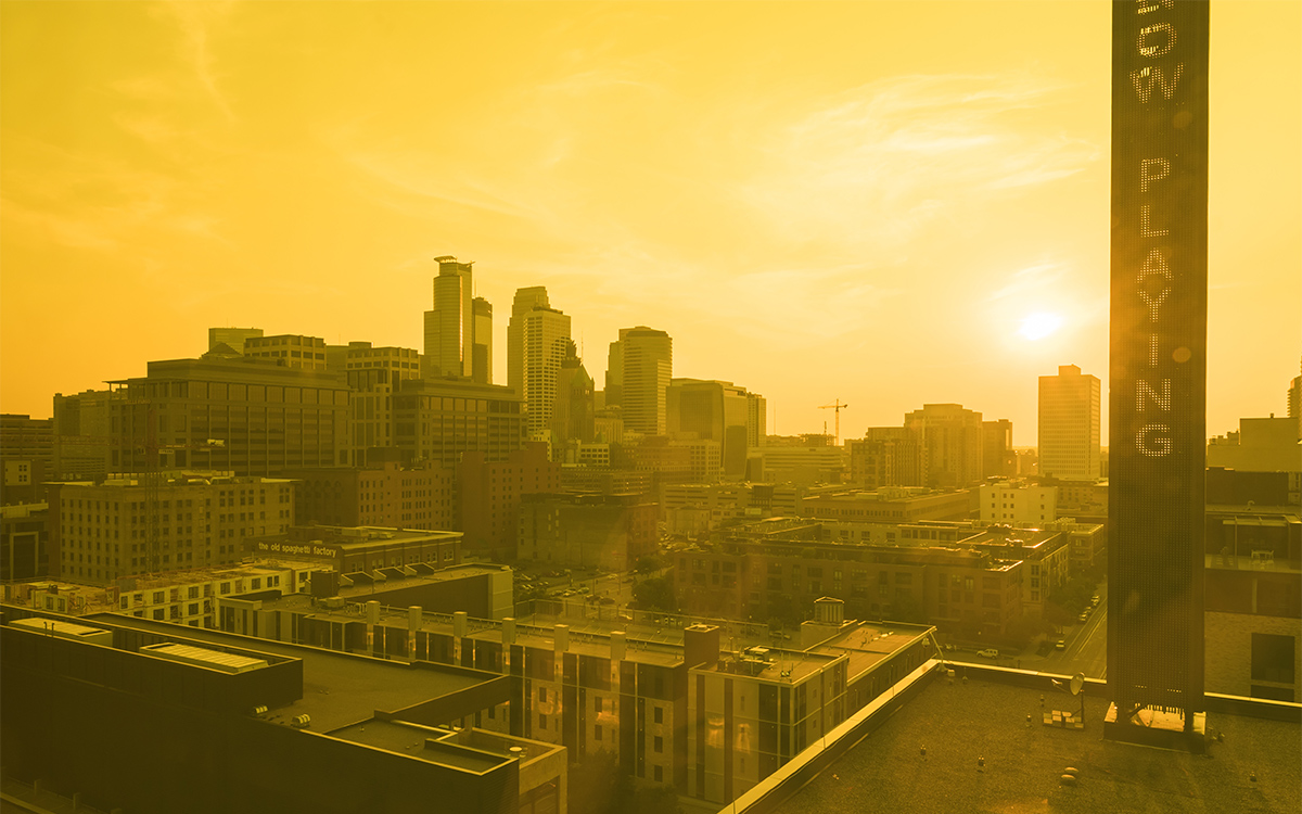 Downtown Minneapolis from Yellow Room at Guthrie Theater