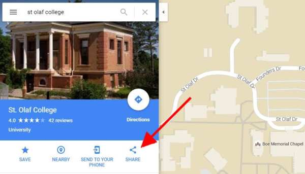 """Screenshot of Google maps with arrow pointing to """"Share"""" icon on search results menu on left"""