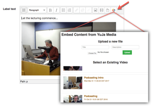 Embed Content from YuJa Media Chooser.