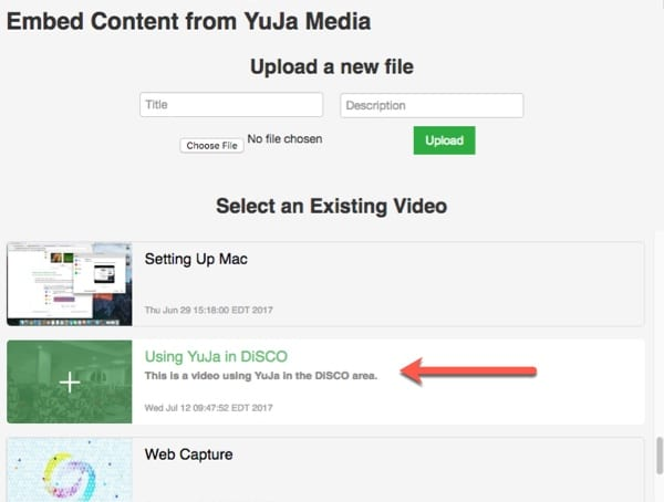 Select your YuJa recording.