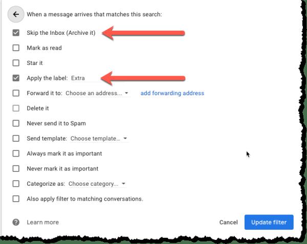 Screenshot of sample filter rules to bypass inbox