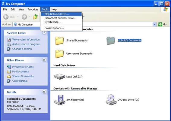 Connecting to the network file storage with Windows XP ... on network drive windows xp, mapping network on xp, map windows network icons,