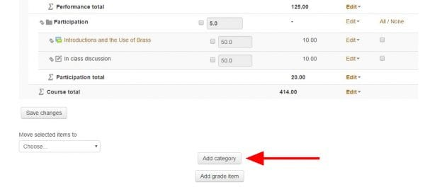 """Screenshot of online gradebook setup with arrow pointing to """"Add category"""" at bottom of page"""