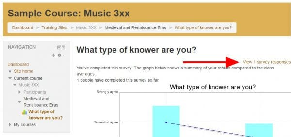 """Screenshot of online survey with arrow pointing to """"View responses"""" link in upper right"""