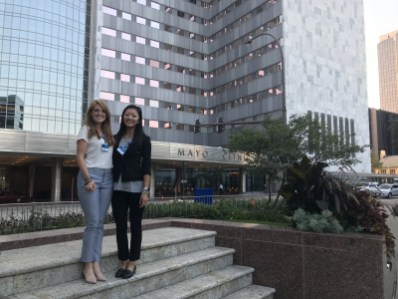Rachel Hoverstad '16 and Nina Lautz '18 on their first day of physical therapy graduate school at the Mayo Clinic. (August 2018)