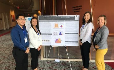 Exercise Science faculty member Jenny Holbein and students Andrew Thao '18, Nina Lautz '18, and Abby Carpenter '18 presented their poster at the 36th Annual Performing Arts Medical Association (PAMA) Symposium at Chapman University in Orange, CA in June 2018.