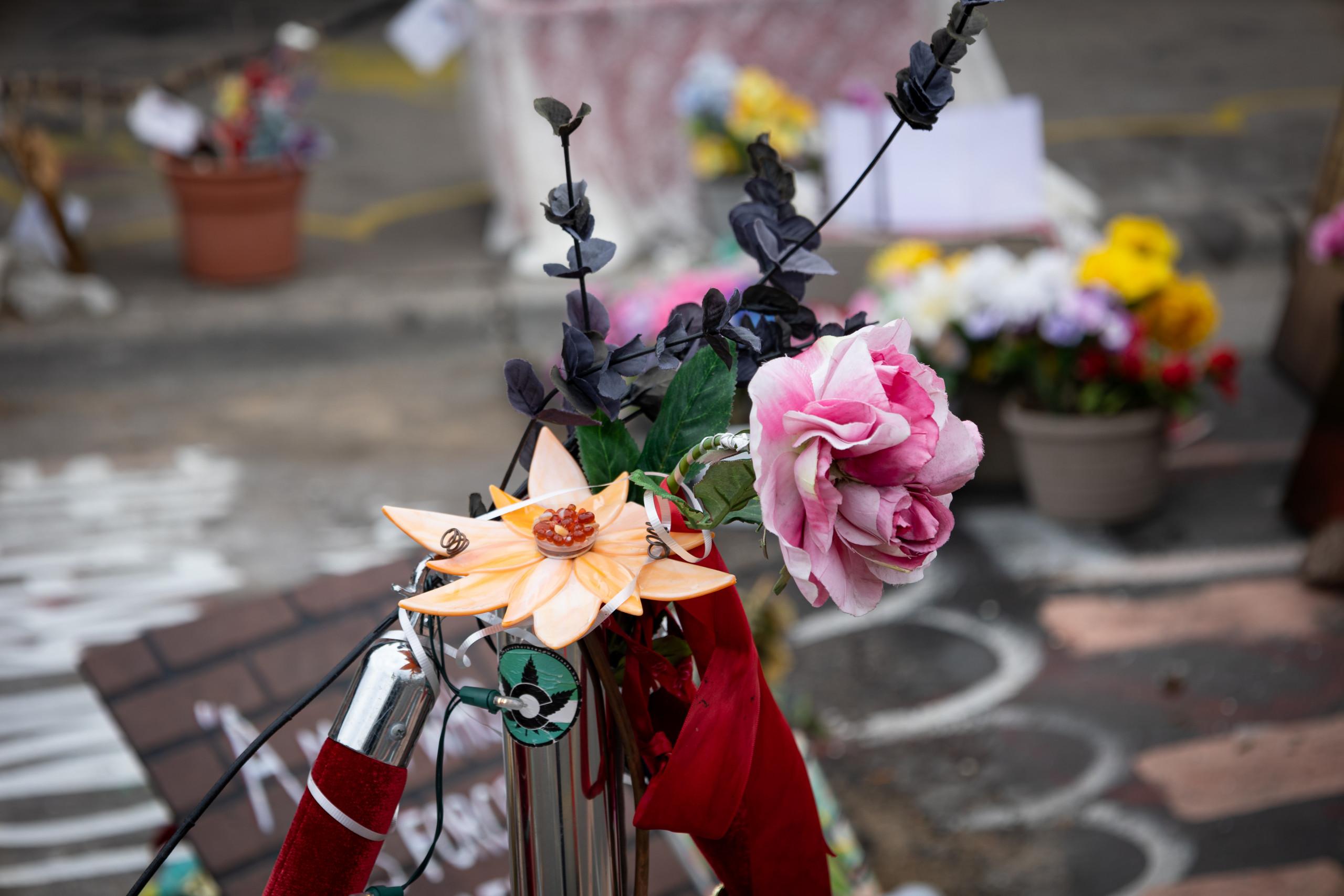 Flowers at the George Floyd Memorial