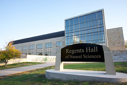 Regents Hall of Natural Sciences sign and Building