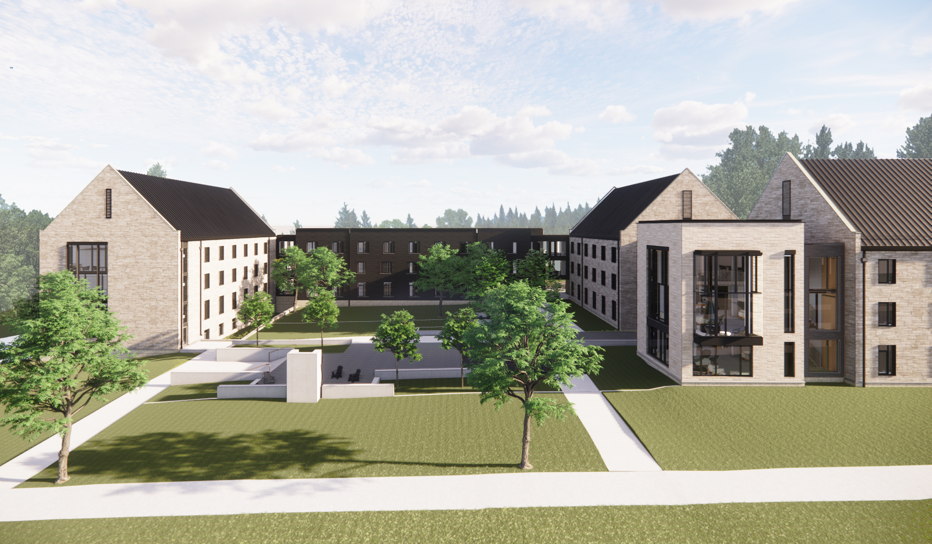 A view facing the new residence hall on the south side of St. Olaf Avenue.