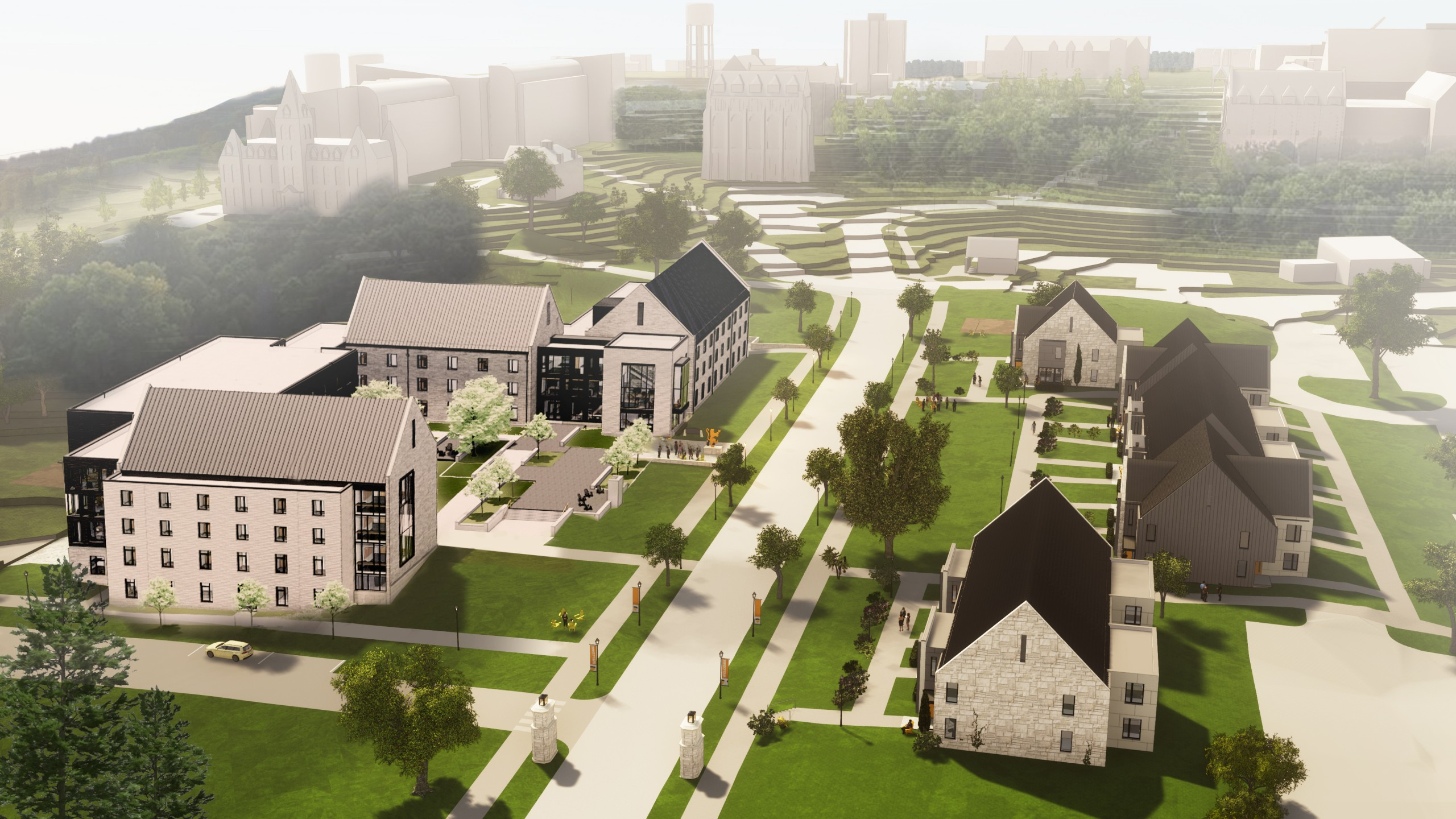 This aerial view of the Ole Avenue Project shows the new 300-bed residence hall the college will build on the south side of St. Olaf Avenue, as well as the town house–style residences with 140 student beds that will replace the honor houses on the north side of St. Olaf Avenue.