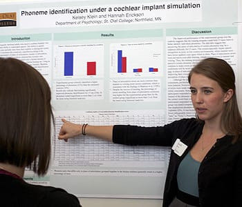 "Hannah Erickson '13 presents her research on ""Phoneme identification under a cochlear implant simulation"" at the Minnesota Undergraduate Linguistics Symposium."