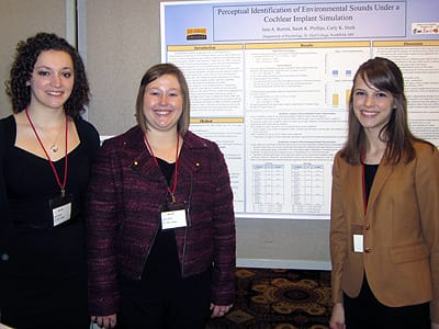 St. Olaf seniors (from left) Jane Burton, Carly Stork, and Sarah Phillips recently received an award from the Council on Undergraduate Research for their study of cochlear implants.