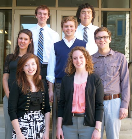 Participants in the St. Olaf Summer Legal Scholars Program include (top row, from left) Joel Jaeger '14 (Drake University), Alexander Hsu '14 (Drake University), (middle row, from left) Nicole Cervenka '14 (University of Minnesota), Matthew Johnson '14 (William Mitchell School of Law), Derek Waller '14 (University of Minnesota), (bottom row, from left) Cianna Bedford '14 (University of St. Thomas), and Gina Tonn '14 (University of St. Thomas).