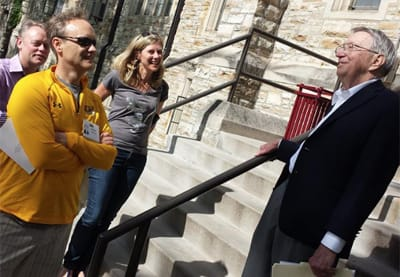 Former President Mel George talks with St. Olaf alumni during last summer's Class of 1990 25th reunion.