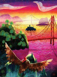 Artists work, Luna, an owl flies toward bridge.