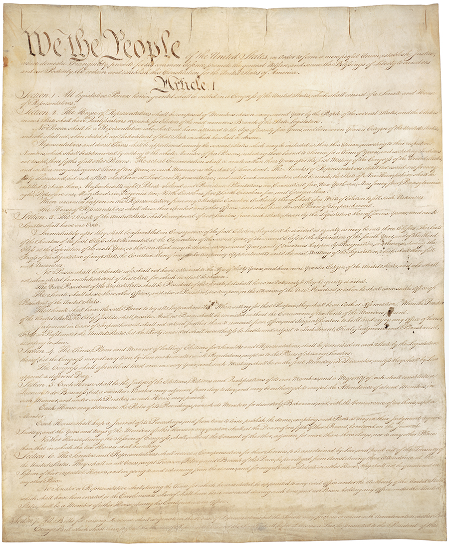 An image of the first page of the United States Constitution.