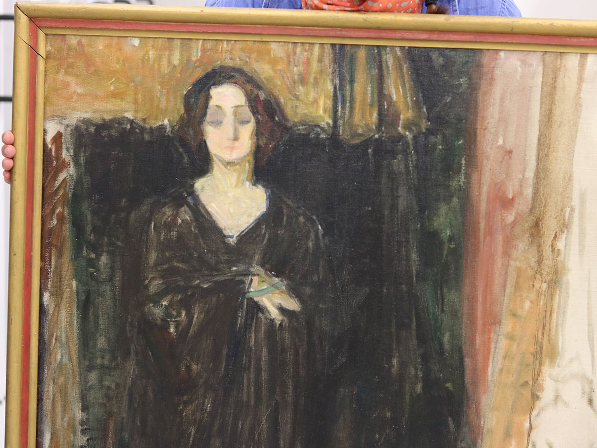 Close up of an unfinished painting of Eva Mudocci, thought to be created by Norwegian artist Edvard Munch.