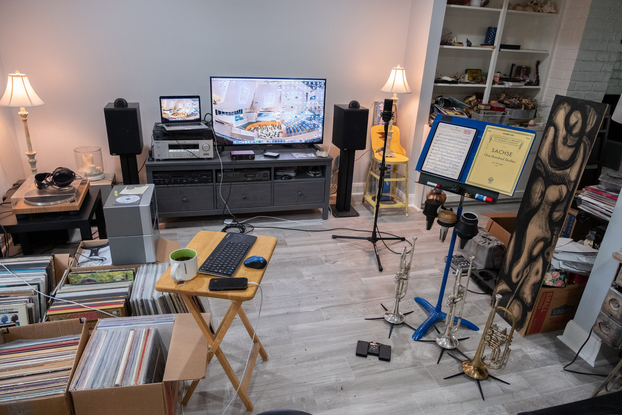 St. Olaf student Steven Garcia's virtual learning setup for trumpet lessons and classes.