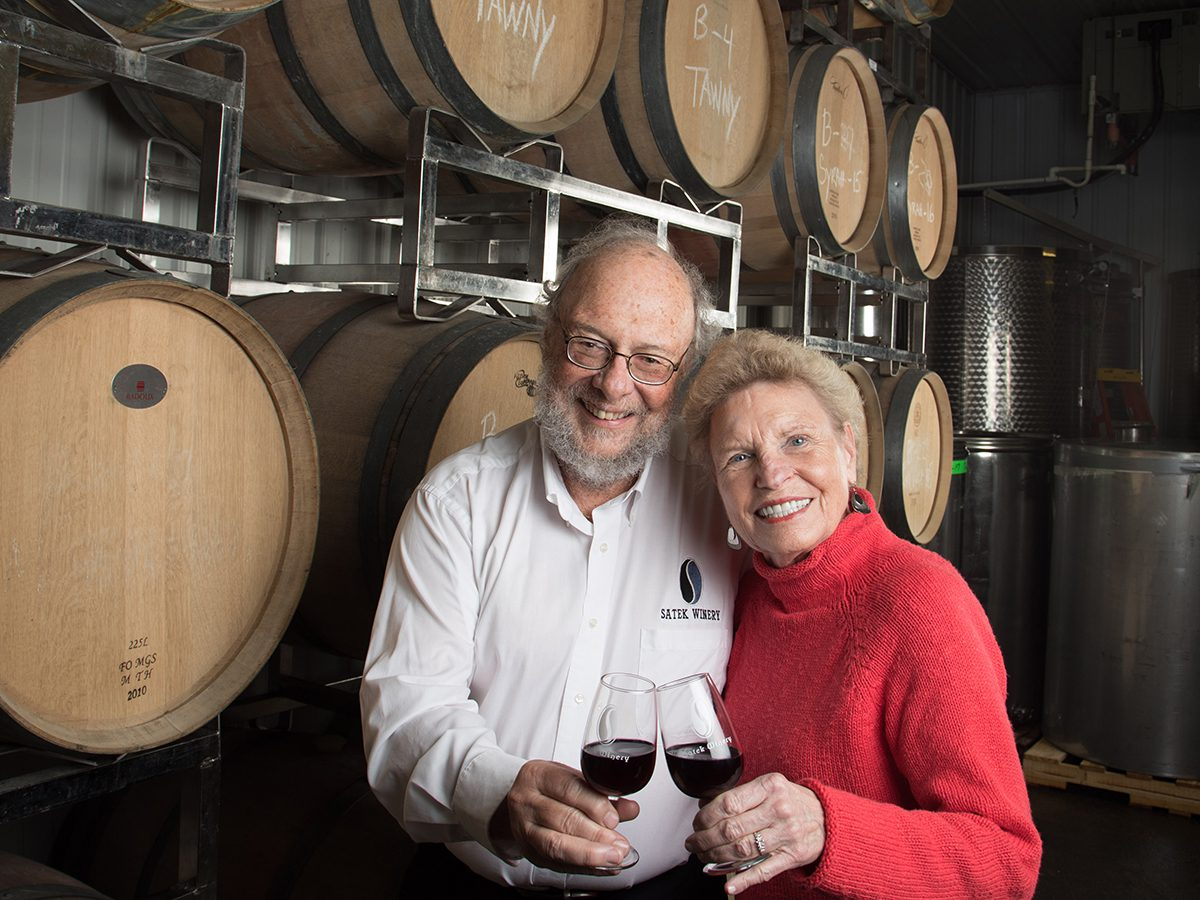 Larry '67 and Pam Satek in their family winery.