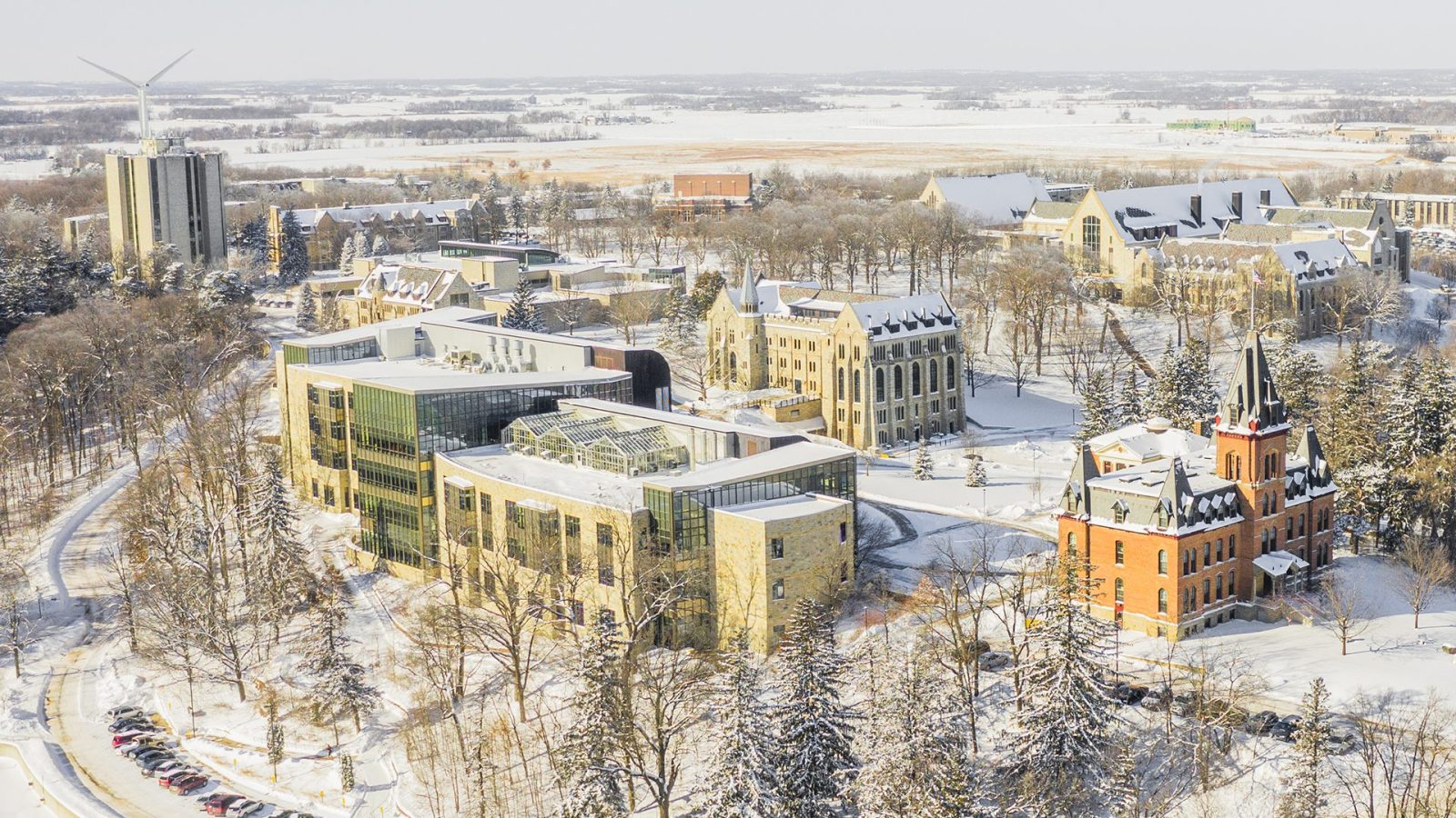Aerial photo of the St. Olaf College campus covered in snow.