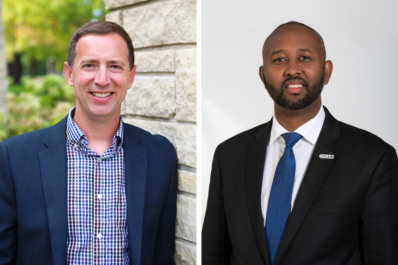 Portrait of Luther College Associate Professor of Religion Todd Green (left) and Council on American-Islamic Relations Minnesota Executive Director Jaylani Hussein (right)