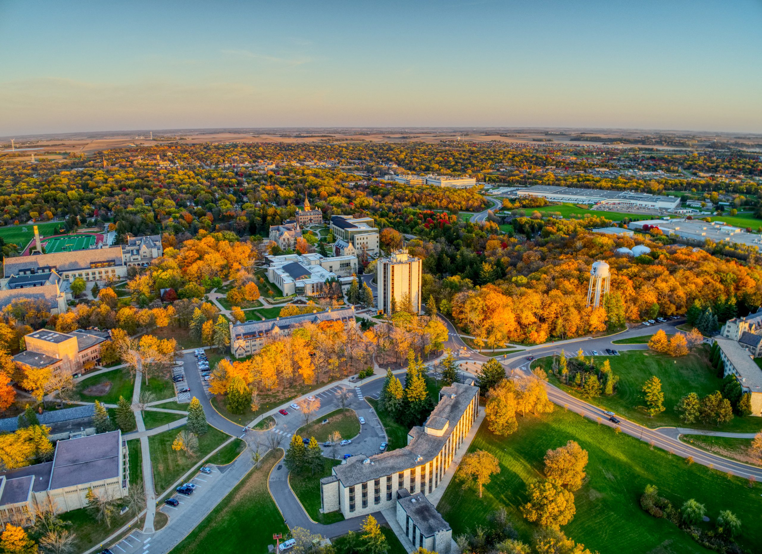 Aerial photo of the St. Olaf campus.