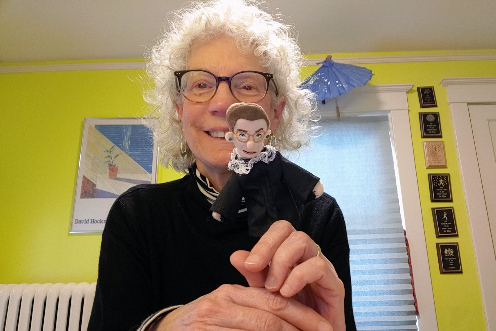 Professor of History Judy Kutulas with the finger puppet of late Supreme Court Justice Ruth Bader Ginsburg that she incorporated into one of her courses.