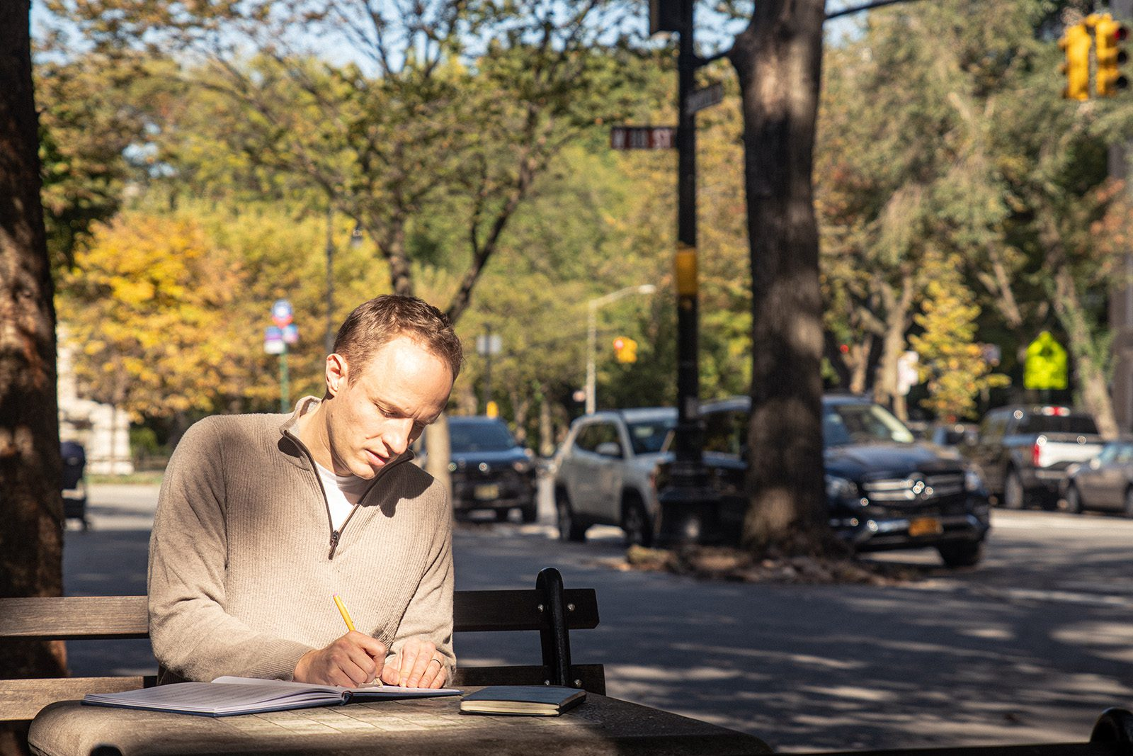 Aron Accurso '01, who is also a composer of musical theater and choral music, works near his home in New York City.