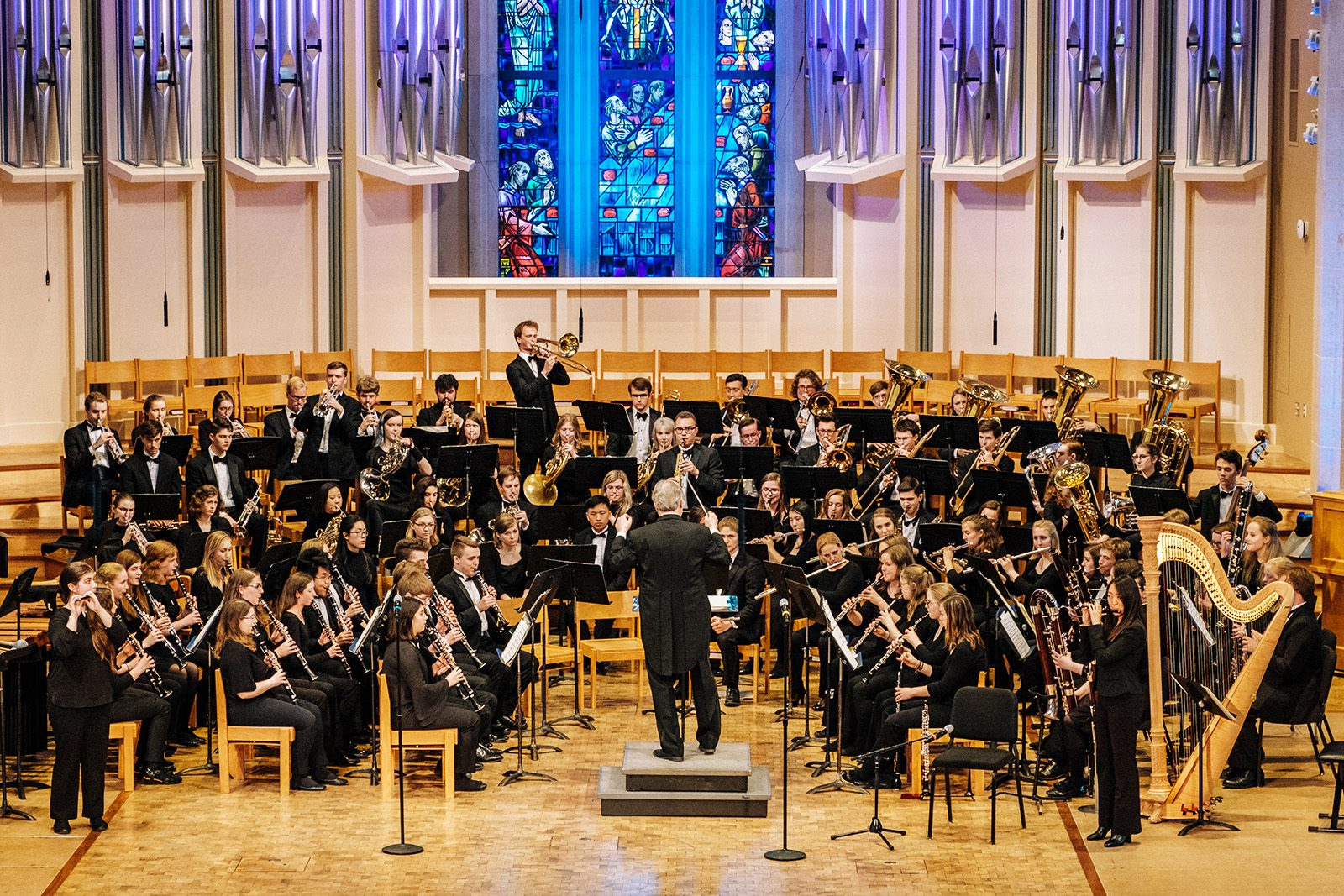 The St. Olaf Band performs in St. Olaf College's Boe Memorial Chapel prior to the COVID-19 pandemic. The band's Midwest tour this fall will be its first opportunity to perform for live audiences since February 2020.