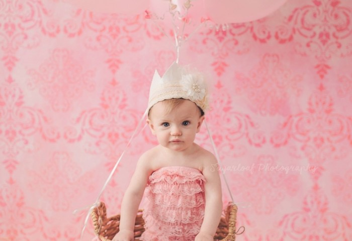 Pink Princess First Birthday Cake Smash Session Parkville Child