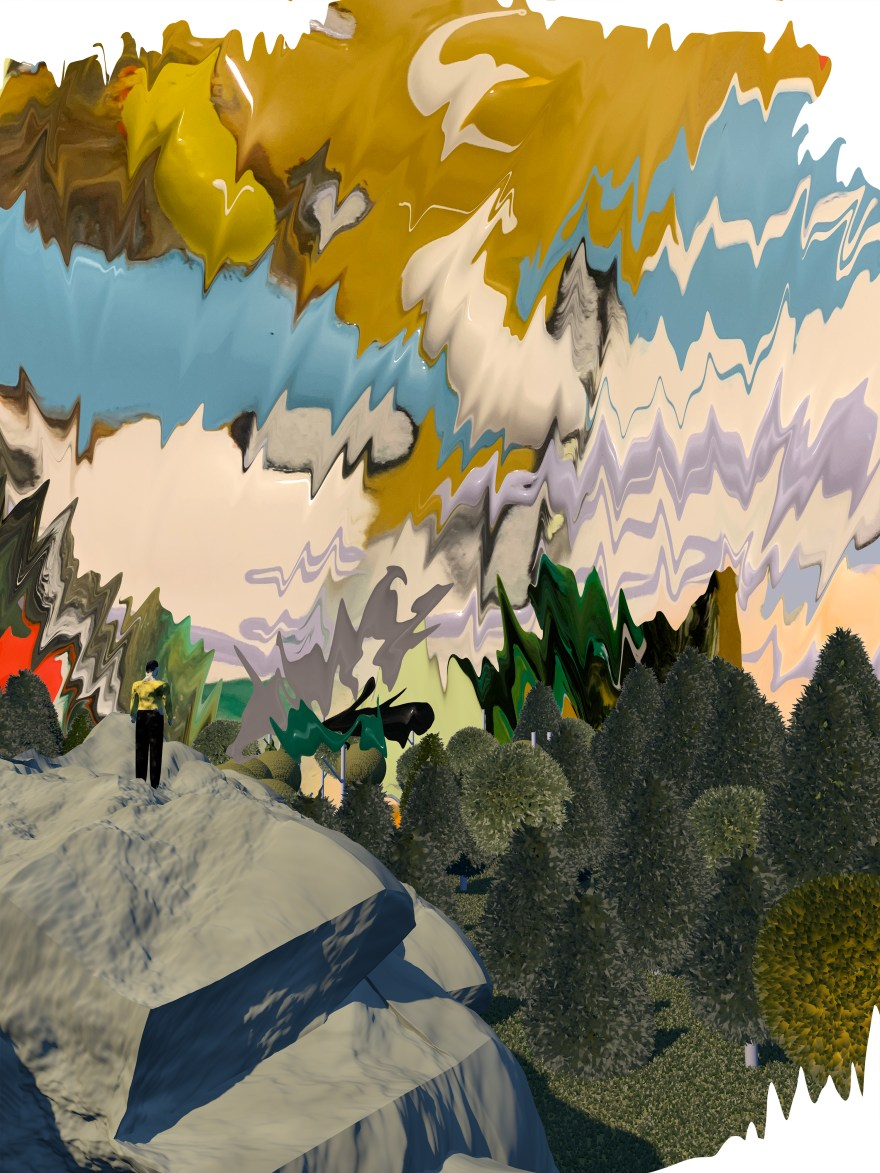 abstract illustration of a person looking out at a forest