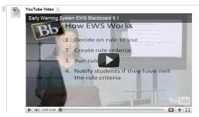 Embed YouTube show as a content item in Blackboard 9.1