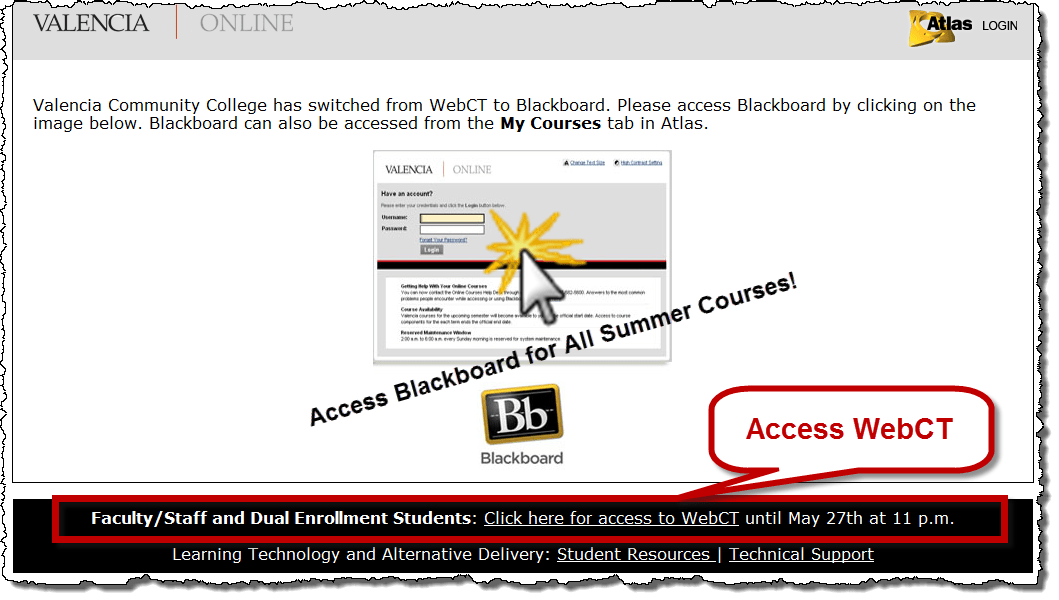 webct access in online course page