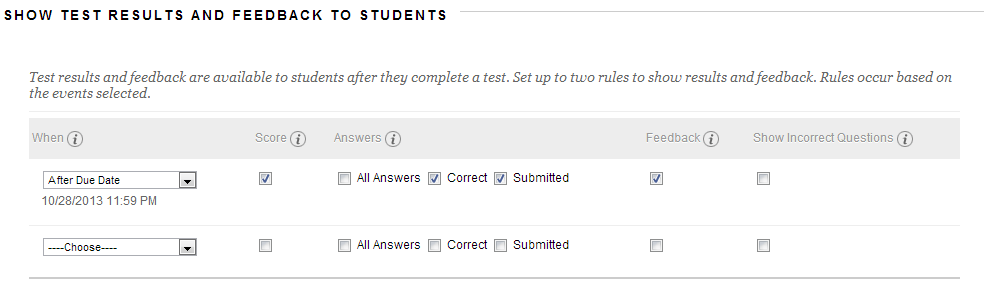 New Test Results Display Options for Blackboard SP14