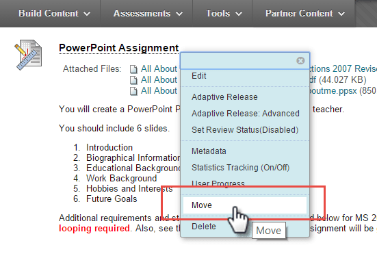 Course Link to Assignment in Blackboard Option to Move