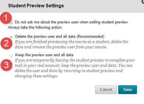 Student Preview in Blackboard Settings