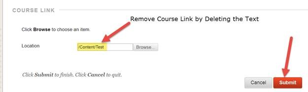 Blackboard Remove Course Link in Announcement by Deleting Text