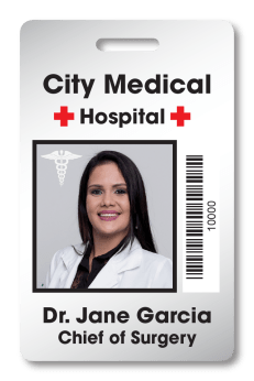 Hospital ID badge for City Medical Hospital with ID photo of doctor and the name and title Dr. Jane Garcia MD with a barcode