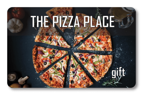 Restaurant gift card for The Pizza Place with pizza slices
