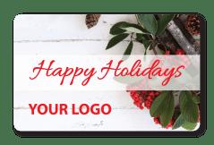 Holiday Gift Holly Card with Custom Logo