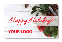 Holiday Gift Holly Card with Custom Logo