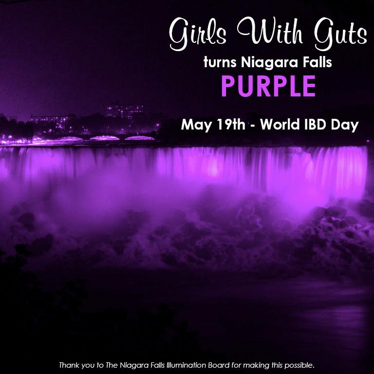 World IBD Day   Girls With Gut's Turns Niagra Falls Purple