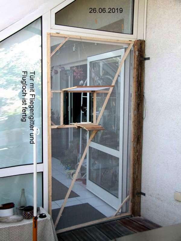 Fertige Tür mit Einflugöffnung und Futterbrettern, © Richard Rastetter