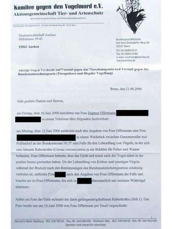 Das Komitee gegen den Vogelmord erstattete Anzeige gegen Unbekannt, dies ist die erste Seite des entsprechenden Briefs, © Dagmar Offermann