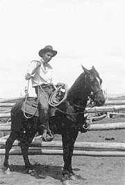 """Rusty Houtz in 1940, riding """"My first horse (of my own)."""""""