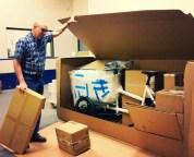 Jack opens trike shipping box