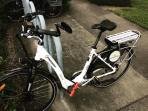 Electronic bike locked in on bike rack