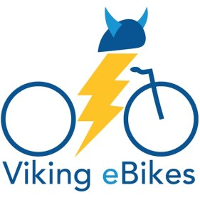 Viking eBikes logo, Illustrated bike with lightning in middle and viking hat on top