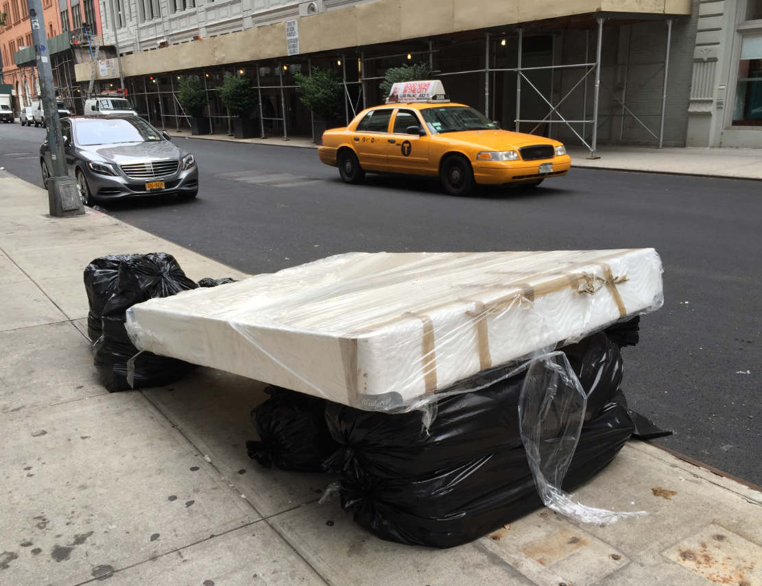 nyc sofa disposal set furniture reviews how to sell donate or junk in streeteasy mattress wrapped up